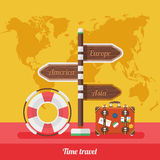 Travel Concept Stylish Background with World Map Royalty Free Stock Images