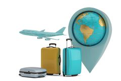 Travel concept suitcase and globe isolated on white background 3D illustration.  royalty free illustration