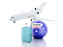 Travel concept. Suitcase, plane and australia flag icon. 3d illu Royalty Free Stock Photos