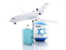 Travel concept. Suitcase, plane and Israel flag icon. 3d illustr Stock Photos