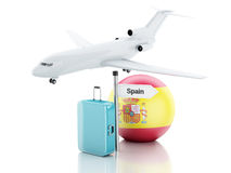 Travel concept. Suitcase, plane and spain flag icon. 3d illustra Royalty Free Stock Photos