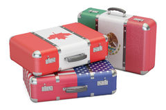 Travel concept, suitcases with flags of USA, Canada and Mexico. Stock Image