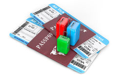 Travel Concept. Suitcases over Passports with Tickets. 3d Render Stock Image