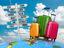 Travel concept. Suitcases and signpost with countries. vector illustration
