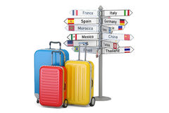 Travel concept. Suitcases and signpost, 3D rendering. Travel concept. Suitcases and signpost, 3D Royalty Free Stock Photography