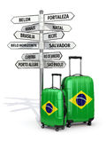 Travel concept. Suitcases and signpost what to visit in Brazil. Royalty Free Stock Image