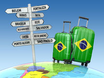 Travel concept. Suitcases and signpost what to visit in Brazil. Stock Photography