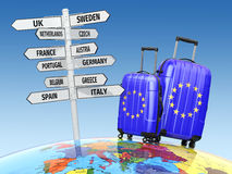 Travel concept. Suitcases and signpost what to visit in Europe. Stock Photos