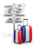 Travel concept. Suitcases and signpost what to visit in France. Stock Photo