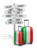 Travel concept. Suitcases and signpost what to visit in Italy. Royalty Free Stock Photos