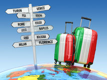 Travel concept. Suitcases and signpost what to visit in Italy Royalty Free Stock Photo