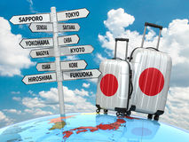 Travel concept. Suitcases and signpost what to visit in Japan. Stock Images