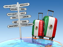 Travel concept. Suitcases and signpost what to visit in Mexico. stock illustration