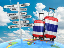 Travel concept. Suitcases and signpost what to visit in Thailand Stock Images