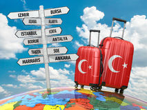 Travel concept. Suitcases and signpost what to visit in Turkey. Royalty Free Stock Image