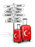 Travel concept. Suitcases and signpost what to visit in Turkey. Stock Photos