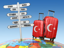 Travel concept. Suitcases and signpost what to visit in Turkey. Stock Photo