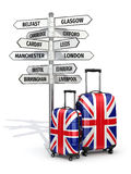 Travel concept. Suitcases and signpost what to visit in UK. Stock Photography