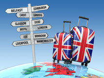 Travel concept. Suitcases and signpost what to visit in UK. Stock Images