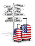 Travel concept. Suitcases and signpost what to visit in USA. Royalty Free Stock Photo