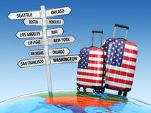 Travel concept. Suitcases and signpost what to visit in USA Royalty Free Stock Photography