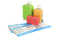 Travel concept, suitcases with tickets. 3D rendering. On white background Royalty Free Stock Image