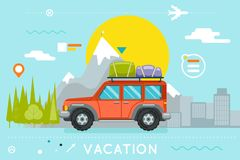 Travel Concept Summer Vacation Tourism Journey Symbol Car Forest City Flat Design Icon Template Vector Illustration Royalty Free Stock Image