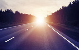 Travel. Concept, sunrise on an empty road Royalty Free Stock Photography