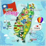 Travel concept of Taiwan. In colorful hand drawn style (every chinese term has their correspond english name under it Royalty Free Stock Photos
