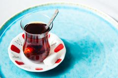 Tea in traditional Turkish cups. Travel concept: tea in traditional Turkish cups Royalty Free Stock Photography