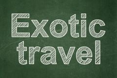 Travel concept: Exotic Travel on chalkboard background Stock Photos