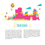 Travel concept and tourism background and locations. Colorful design. Stock Photography
