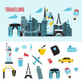 Travel concept and tourism background and locations with icons. Stock Images