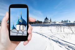 frozen river and Suzdal Kremlin in winter royalty free stock images