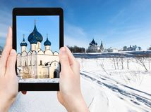 frozen river and Suzdal Kremlin in winter stock photography