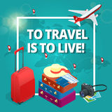 Travel concept. Travel bags, passport, foto camera and travel ticket and airplane in sky. Isometric flat 3d vector Royalty Free Stock Images