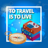 Travel concept. Travel bags, passport, foto camera and travel ticket and airplane in sky.. Isometric flat 3d vector illustration Stock Images