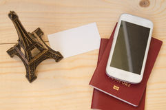Travel concept, travel, passport and mobile phone. Top view royalty free stock photos