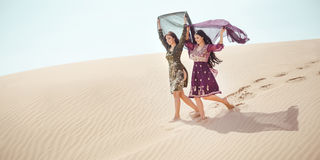 Travel concept. Two gordeous women sisters traveling in desert. stock photo