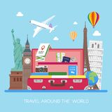 Travel concept vector illustration in flat style design. Airplane flying above tourists luggage Stock Photography