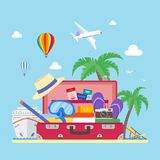 Travel concept vector illustration in flat style design. Vacation and tourism background Royalty Free Stock Images