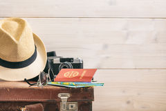 Travel concept on white background - copy space stock photos