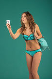 Travel concept. Woman with camera Royalty Free Stock Image