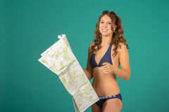 Travel concept. Woman with map Stock Photos
