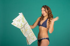 Travel concept. Woman with map Royalty Free Stock Photos