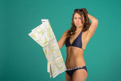 Travel concept. Woman with map Royalty Free Stock Photo
