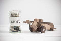 Travel concept with wooden airplane toy Royalty Free Stock Images