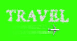 Travel concept written on chroma key green screen with tourism airplane fly near it holiday, abstract travel concept. Of time of relax holiday vacations stock footage