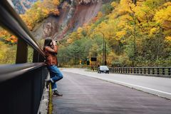 Travel Concept. Young Traveling Woman with Camera taking Photo i royalty free stock photos