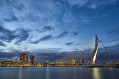 Picturesque View of Erasmusbrug Erasmus Bridge in Rotterdam Royalty Free Stock Image